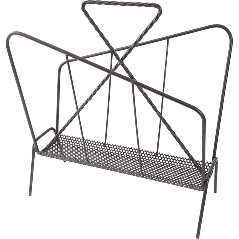 Vintage perforated magazine rack in metal