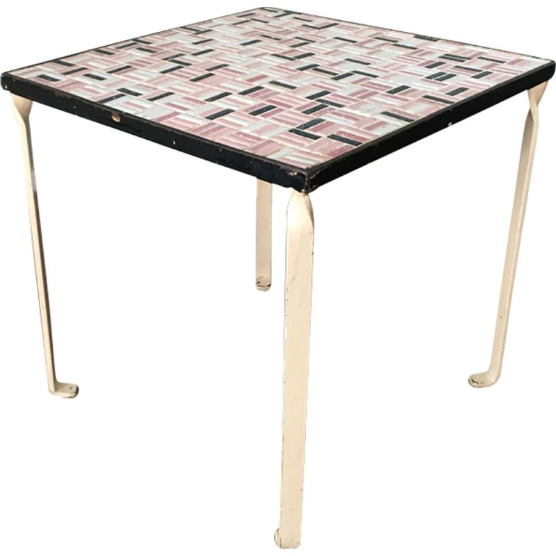 Vintage Side Table With Ceramic Tile Top