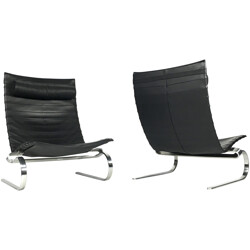 PK20 lounge chairs in black leather and chromed metal, Poul KJAERHOLM - 1980s