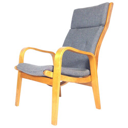 FB-06 easy chair in birchwood and grey mottled fabric, Cees BRAAKMAN - 1950s