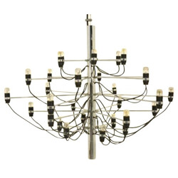 Chandelier in chromed steel and glass model 2097, Gino SARFATTI - 1960s