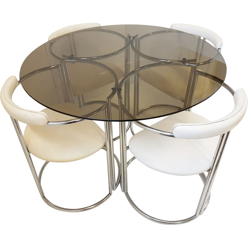 Set of glass table and 4 white leatherette chairs 1970