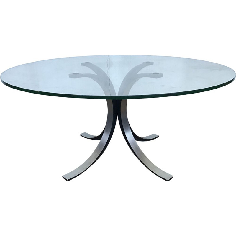 Italian vintage table in glass, Osvaldo Borsani for TECNO 1970