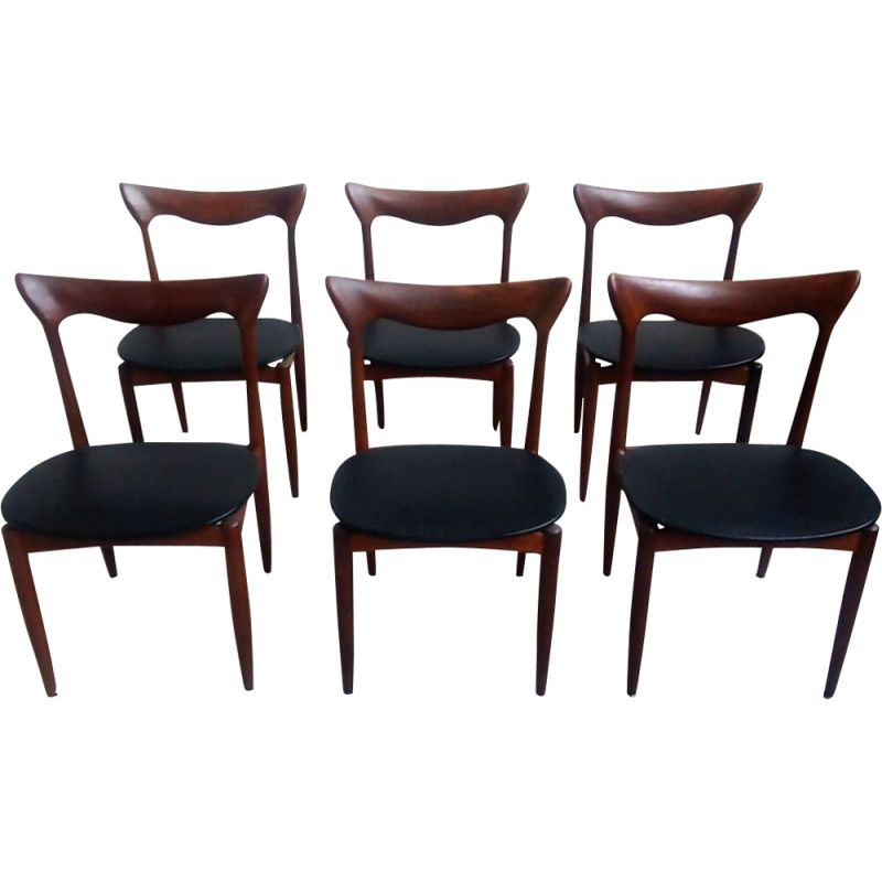 Set of 6 chairs vintage Henry Walter Klein, Denmark