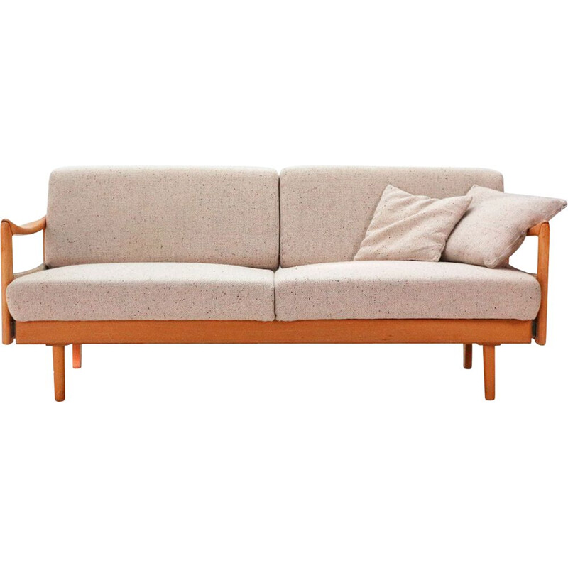 Vintage beechwood sofa bed with extensions 1970