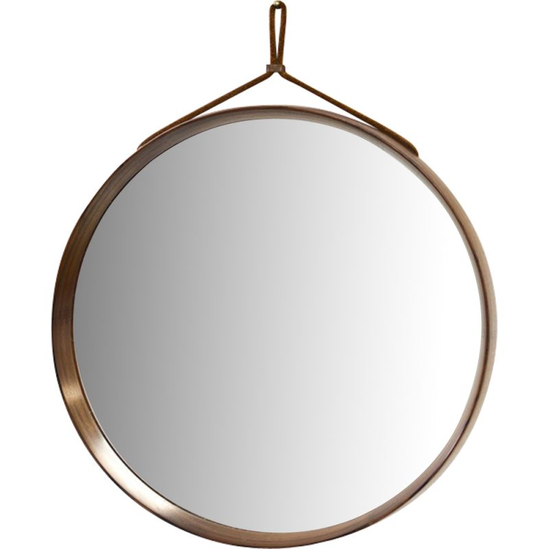 Vintage round mirror in rosewood by Uno & Östen Kristiansson for Luxus