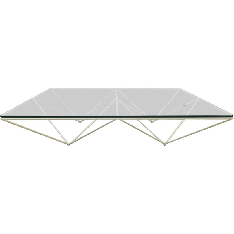 "Vintage coffee table ""Alanda"" in white steel by Paolo Piva for B&B Italia"