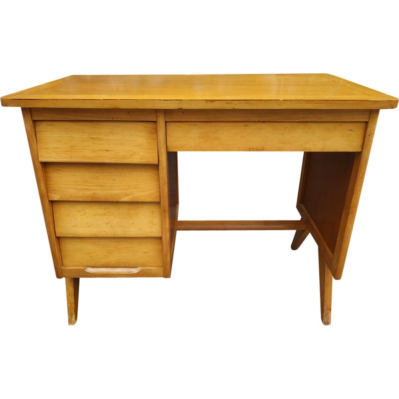 Vintage Yellow Wooden Desk