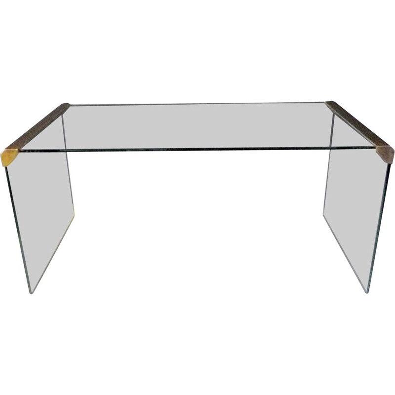 Vintage Italian Coffee table in glass and Golden metal by Galloti & Radice