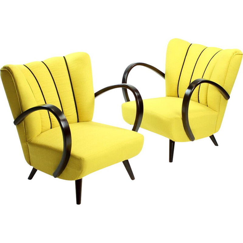 Vinta set of 2 yellow armchairs by Jindrich Halabala