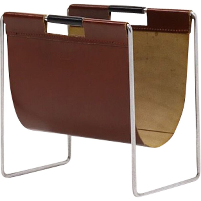 Brown vintage leather & chrome magazine Rack by Brabantia, 1970s