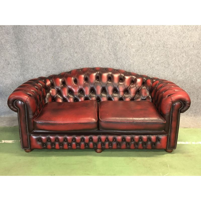 Vintage 3-seater chesterfield sofa in leather - Design Market