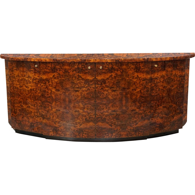 Vintage curved sideboard in burl wood by JC Mahey Paris