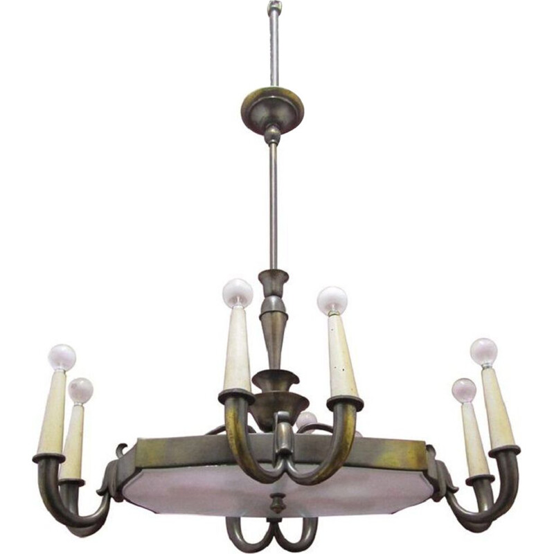 Vintage Italian chandelier in glass and brass by Gio Ponti