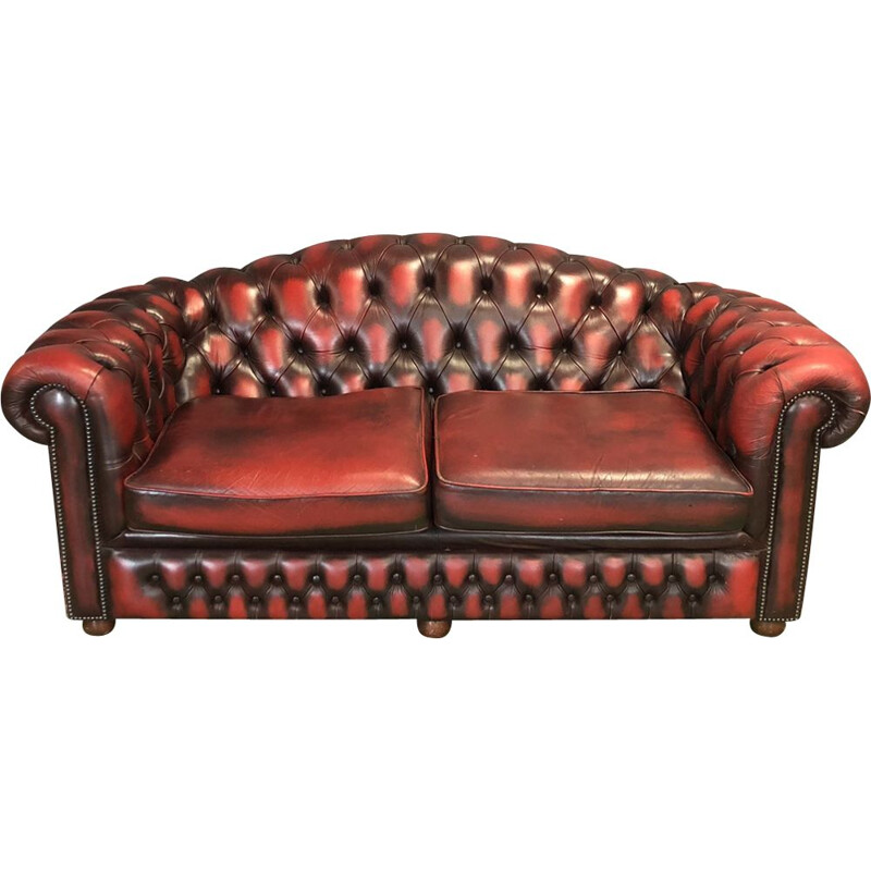 Vintage 3-seater chesterfield sofa in leather