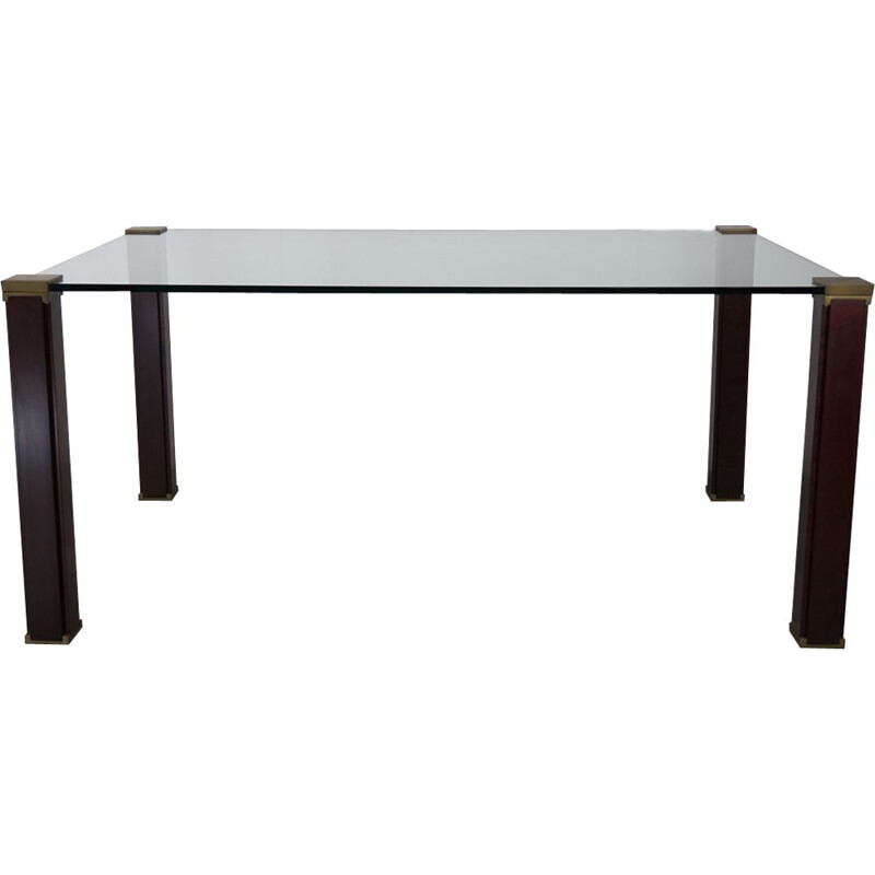 Vintage rectangular dining table T66 in glass by Peter Ghyczy