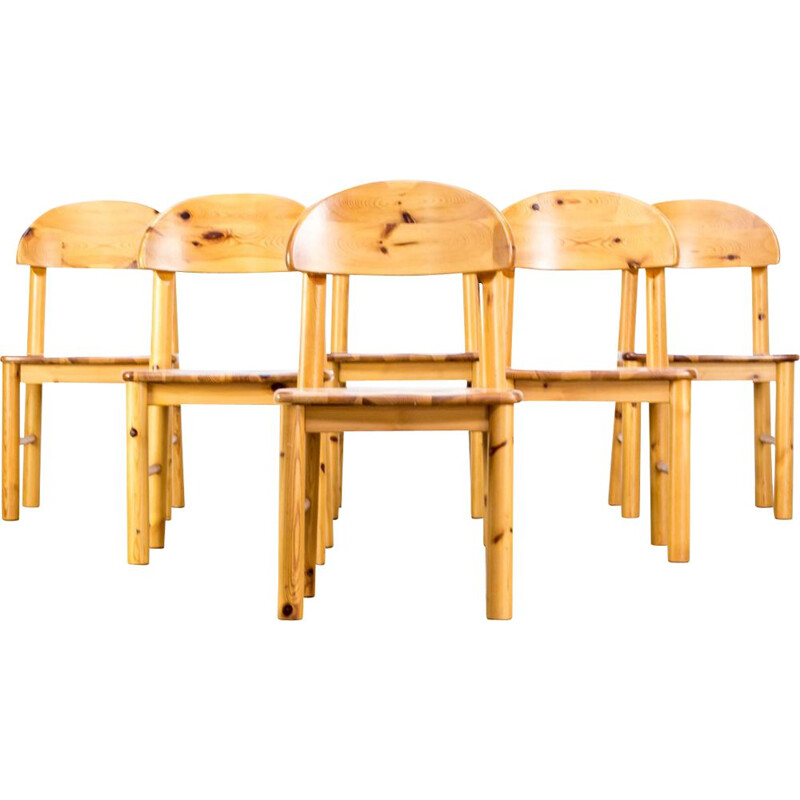 Set of 6 vintage dining chairs in pine wood by Rainer Daumiller for Hirtshals Savvaerk