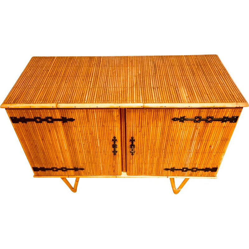 Vintage French cabinet in rattan