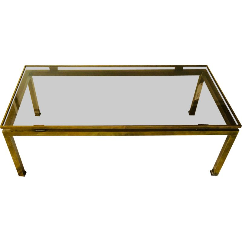Vintage French coffee table in brass by Guy Lefevre