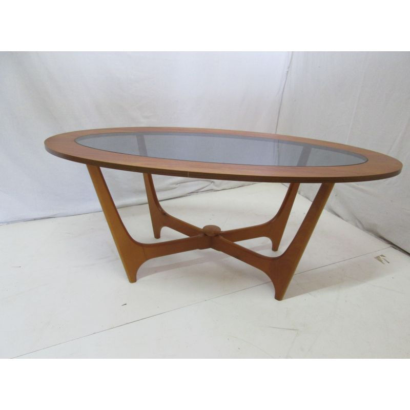 Antique Teak Coffee Table: Vintage Oval Coffee Table In Teak