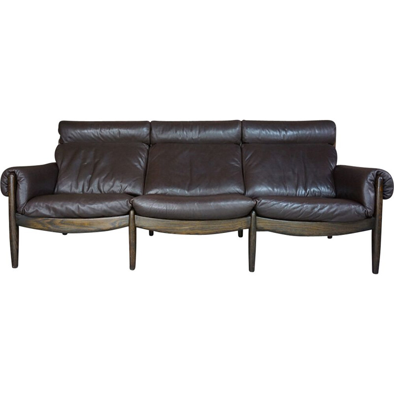 Vintage 3-seater sofa in wood and leather