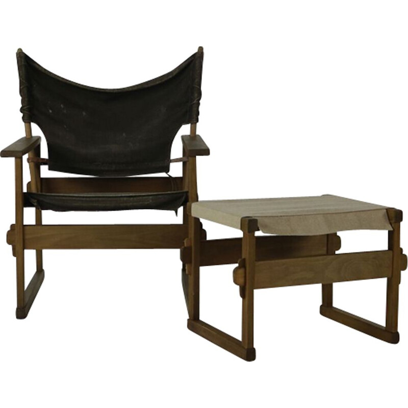 Vintage safari chair and ottoman by Kai Winding for Poul Hundevad