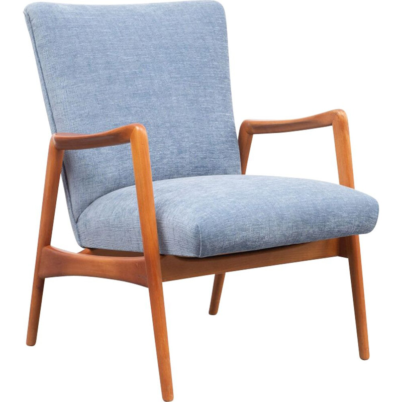 Vintage armchair in cherrywood and velour 1950