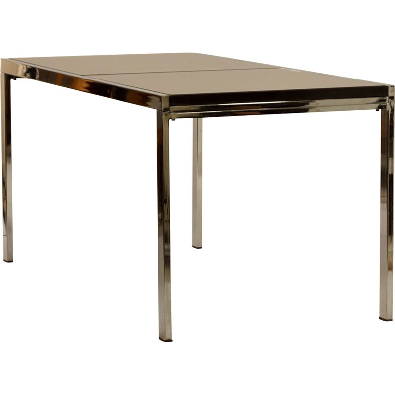 Vintage extendable dining table in smoked glass by Milo Baughman