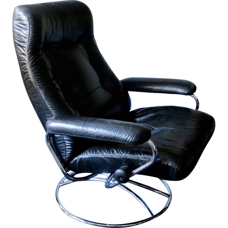 Vintage swivel recliner lounge chair in black leather