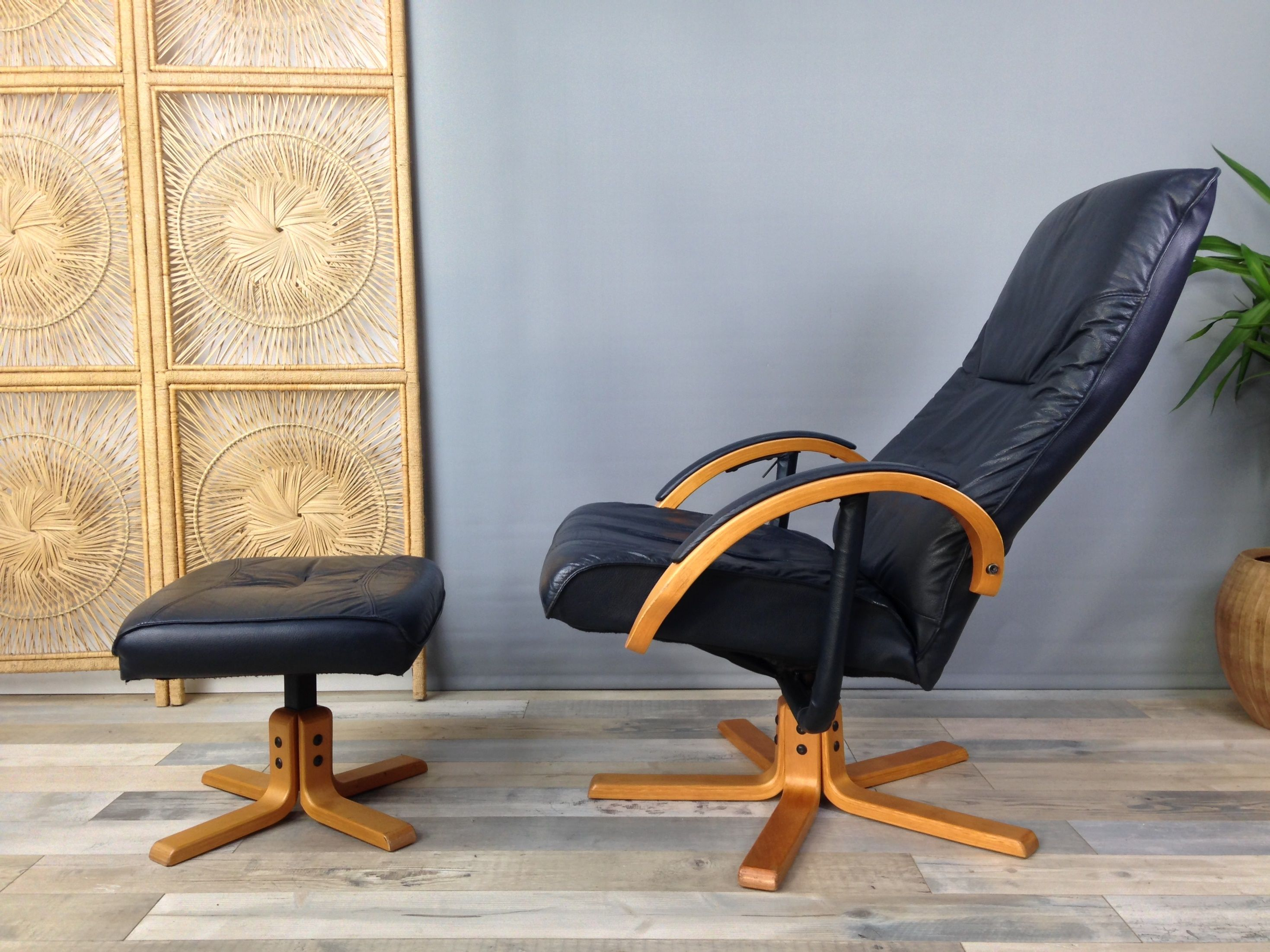 Image of: Vintage Armchair In Leather And Wood With Ottoman By Unico Denmark Design Market