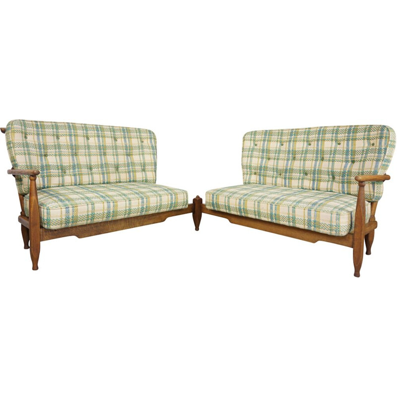 Vintage oak corner sofa by Guillerme and Chambron 1950s