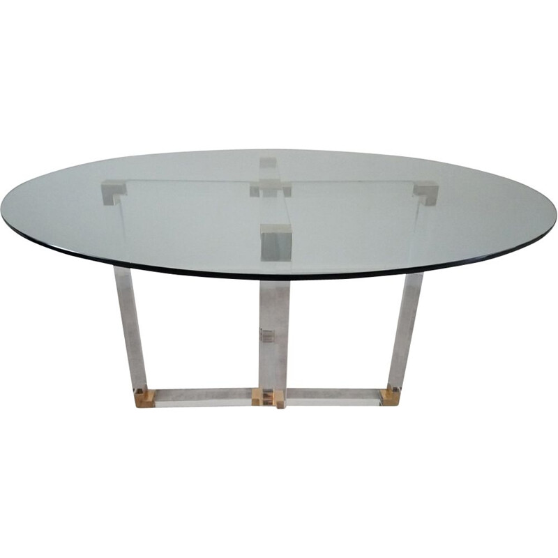 Vintage plexiglass and glass dining table for Metalarte 1970