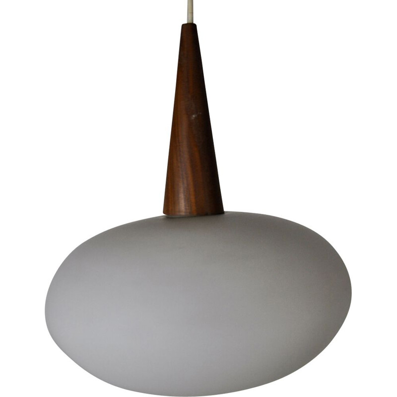 Vintage pendant lamp in opaline glass and teak by Louis Kalff for Philips