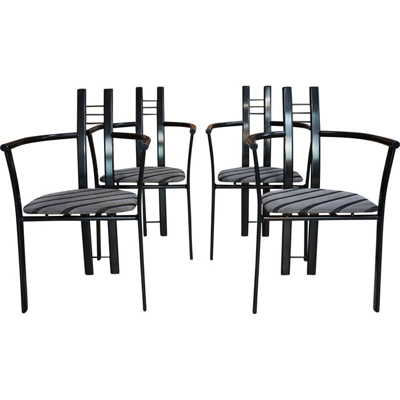Set of 4 vintage Italian chairs in metal