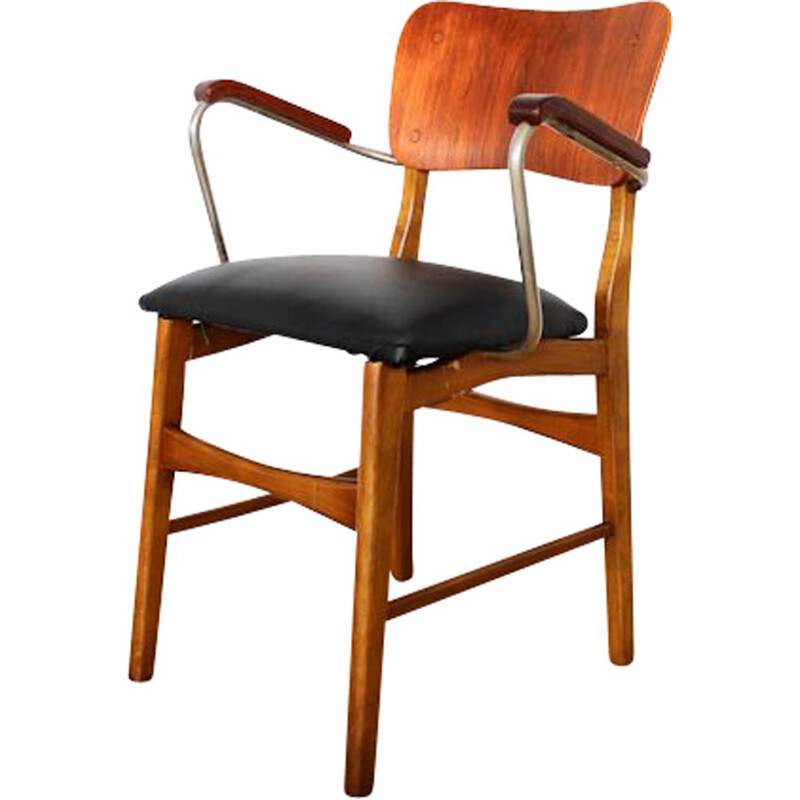 Vintage black chair in teak by ib Kofod Larsen