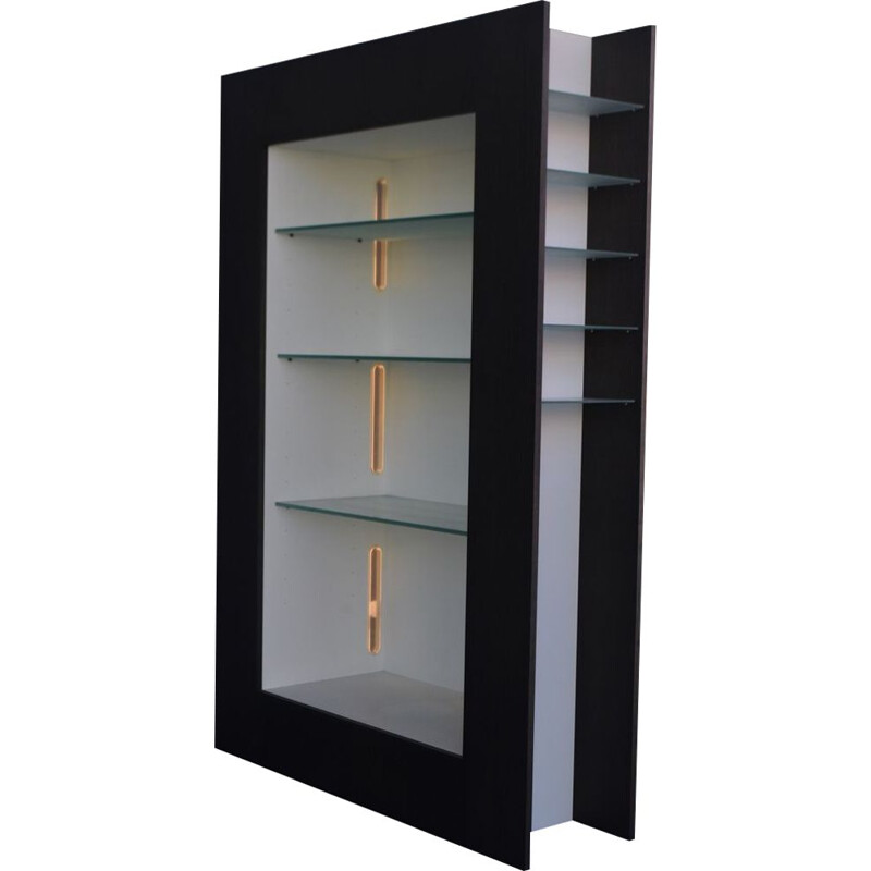Contemporary black & white electrified showcase in lacquered wood