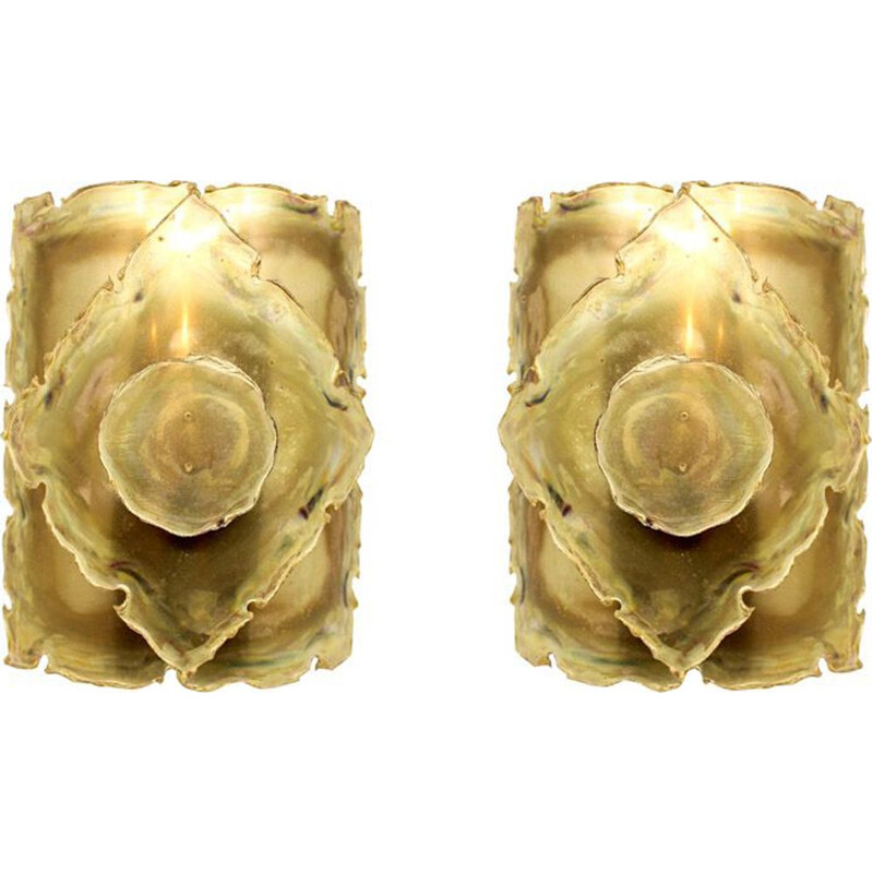 Set of 2 vintage wall lamps in brass by Svend Aage Holm Sørensen