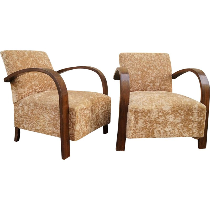 Set of 2 armchairs in velvet and mahogany