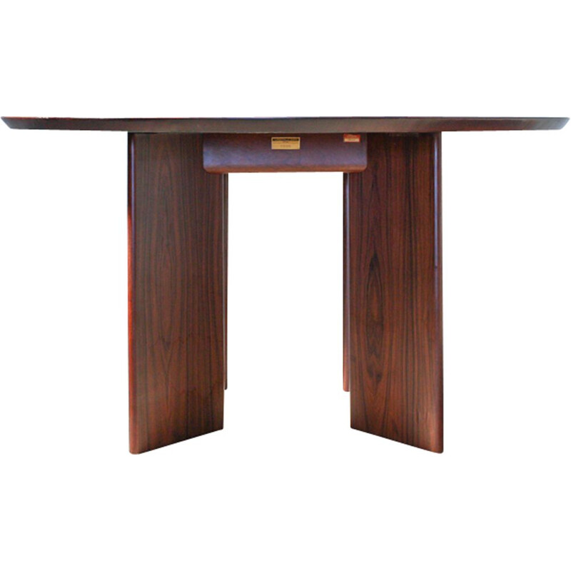 Vintage English round rosewood dining table