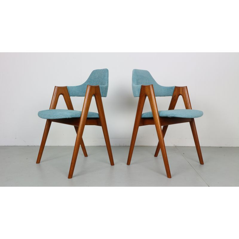 Set Of 4 Compass Chairs In Teak By Kai Kristiansen For Sva Mobler