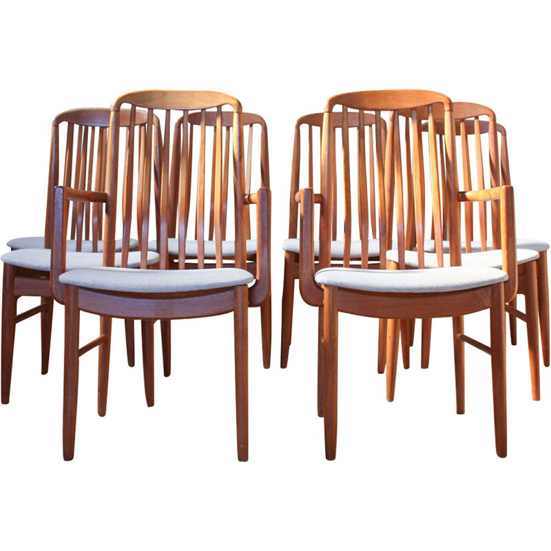Set of 8 teak dining chairs by Benny Linden