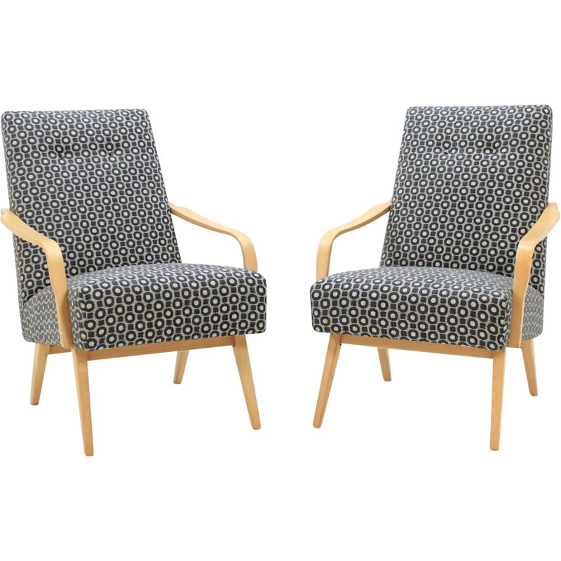 Set of 2 vintage armchairs in beechwood