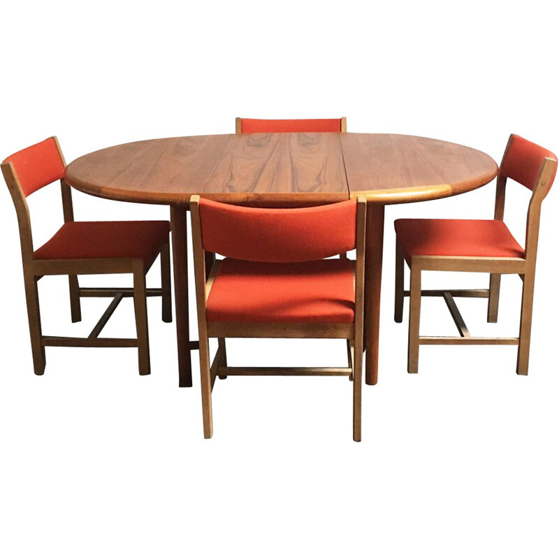 Vintage danish dining table & 4 orange chairs