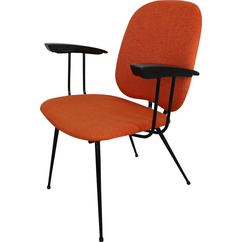 Vintage orange armchair in metal and bakelite