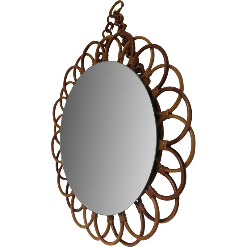 Vintage French mirror in rattan