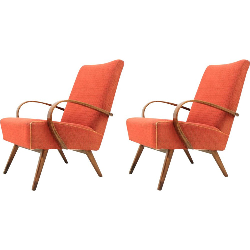 Set of 2 vintage orange armchairs by Jindrich Halabala