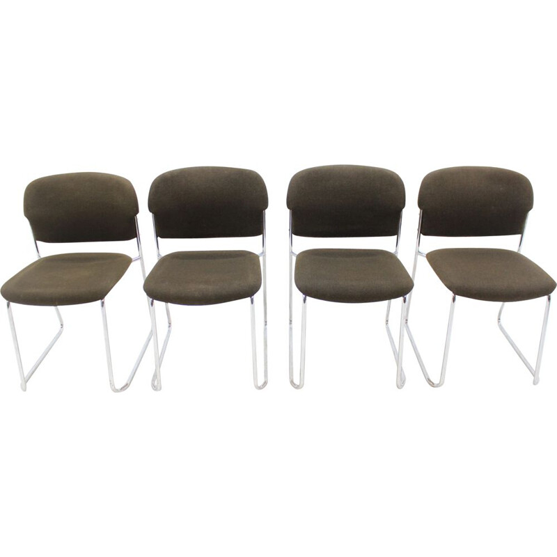 Set of 4 vintage chairs in metal by Gerd Lange for Drabert
