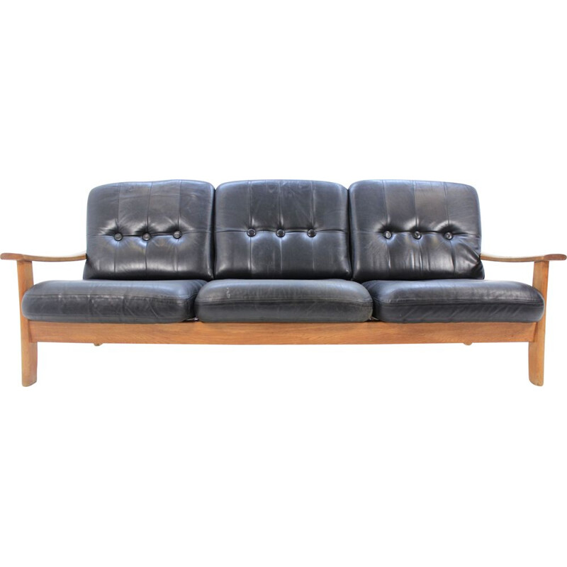 Vintage scandinavian 3-seater sofa in leather