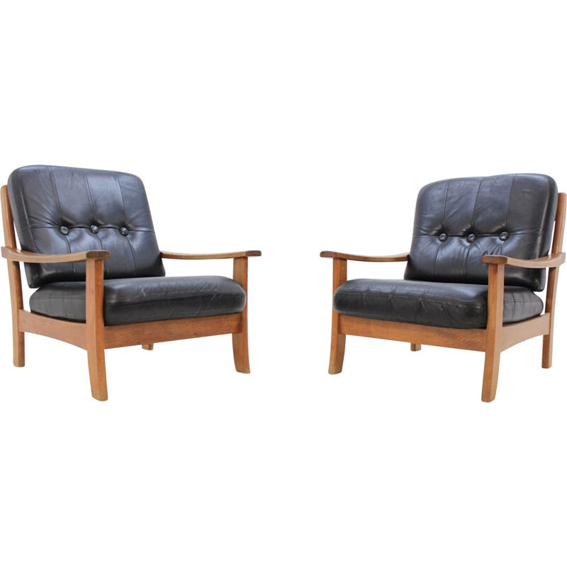Set of 2 vintage scandinavian armchairs in black leather