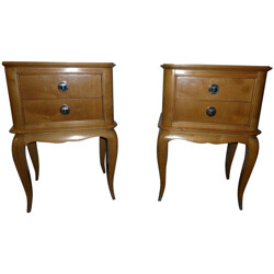 Pair of nightstands in solid sycamore, Jean PASCAUD - 1950s